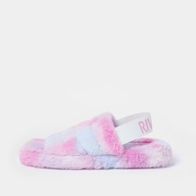 Pink fur detail slippers   River Island