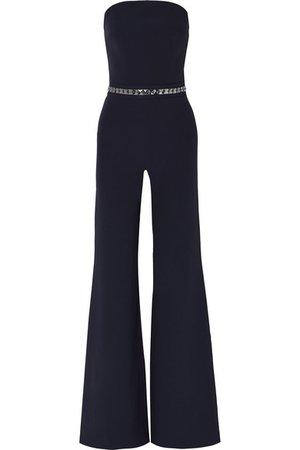 Safiyaa | Crystal-embellished stretch-crepe jumpsuit | NET-A-PORTER.COM