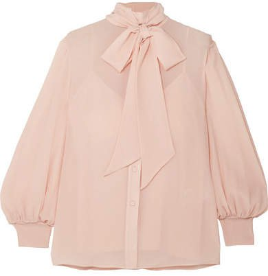 Pussy-bow Silk-crepon Blouse - Beige
