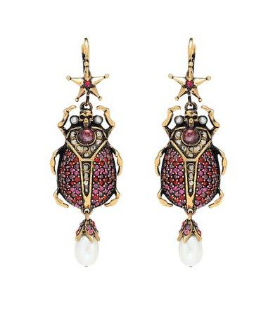 Crystal beetle earrings