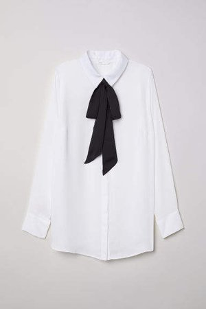 MAMA Blouse with Ties - White
