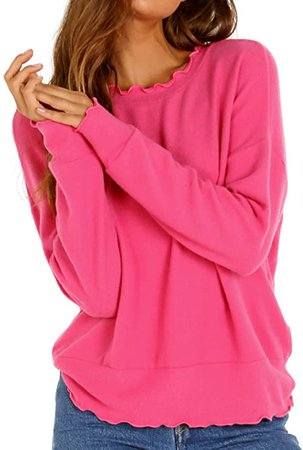 LNA Clothing Brushed Nora Sweater Magenta at Amazon Women's Clothing store