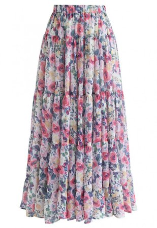Floral Blossom Watercolor Ruffle Maxi Skirt in Pink - Skirt - BOTTOMS - Retro, Indie and Unique Fashion