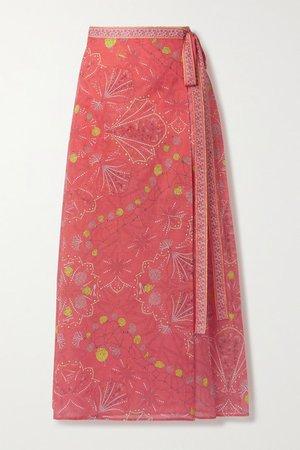 Printed Cotton-voile Midi Wrap Skirt - Pink