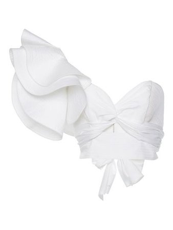 One Shoulder Plain Frill Layered Women's Crop Top