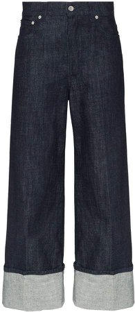 turned-cuff wide-leg jeans