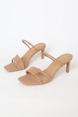 Sexy Camel Heels - Nude Suede Heels - Barely-There Heels - Lulus