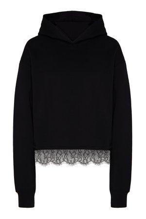 Черная толстовка с кружевом Calvin Klein – купить в интернет-магазине в Москве