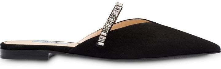 Flat suede mules with crystals