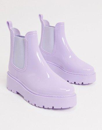 ASOS DESIGN Gadget chunky chelsea rain boots in lilac | ASOS