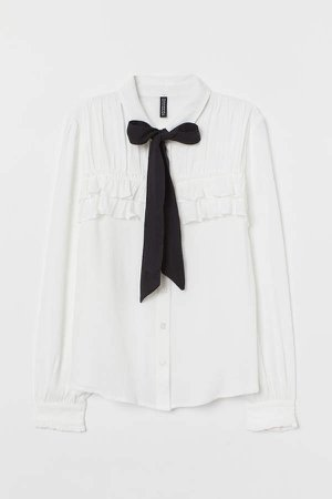 Tie-collar Blouse - White