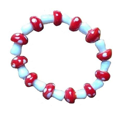 glass bead mushroom bracelet