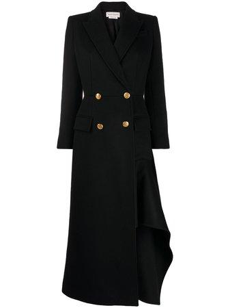 Shop Alexander McQueen asymmetric long coat with Express Delivery - FARFETCH