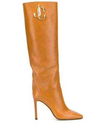 Jimmy Choo brown logo 100 knee-high boots brown MAHESA100CLF - Farfetch
