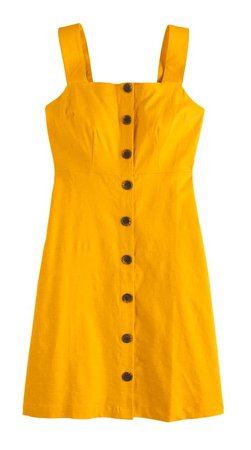yellow overall button dress