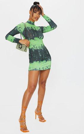 Black Tie Dye Slinky Long Sleeve Bodycon Dress   PrettyLittleThing