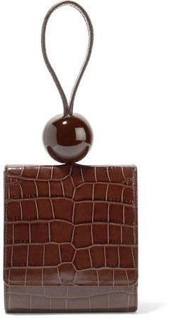 BY FAR - Ball Croc-effect Leather Tote - Dark brown