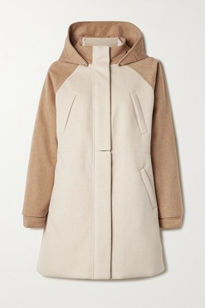 Hooded Leather-trimmed Cashmere Coat - Beige