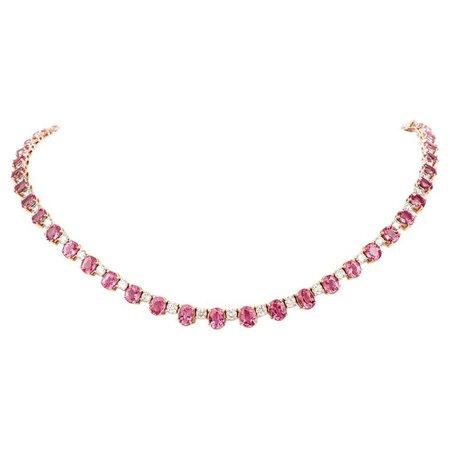 Vintage Pink Sapphire Diamond 18 Karat Gold Choker Necklace