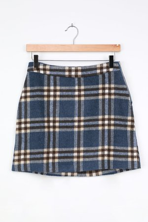 Blue Plaid Skirt - Plaid Print Mini Skirt - Flannel A-Line Skirt - Lulus