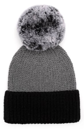 Eugenia Kim Myrna Colorblock Beanie with Faux Fur Pm | Nordstrom