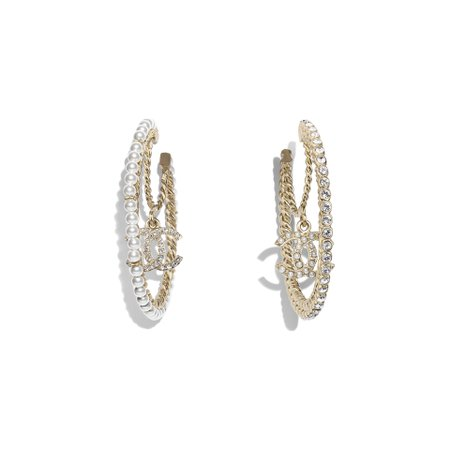 Metal, Glass Pearls Strass Gold, Pearly White Crystal Earrings | CHANEL