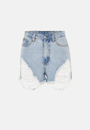 Plus Size Light Blue Highwaisted Distressed Denim Shorts | Missguided
