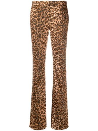 Shop Blumarine leopard print flared trousers with Express Delivery - FARFETCH