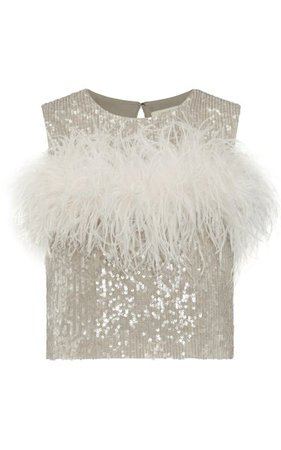 Sequined Feather-Detailed Tank Top By Lapointe   Moda Operandi
