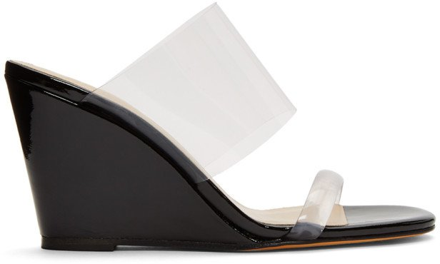 Black Patent Olympia Wedge Sandals