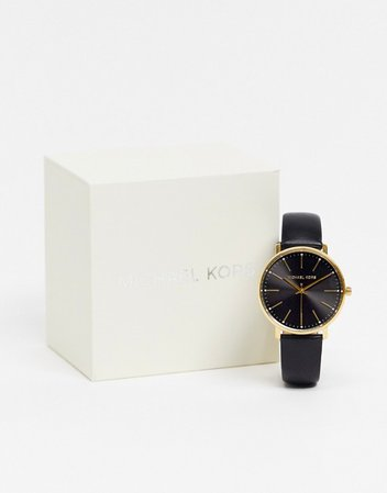 Michael Kors Pyper black leather watch MK2747   ASOS
