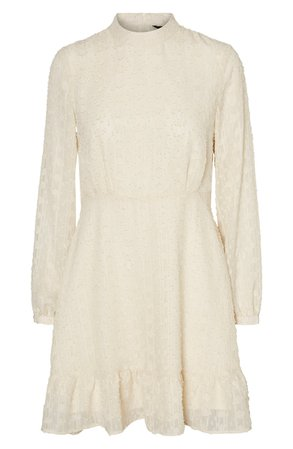 VERO MODA Lykke Long Sleeve Minidress ivory