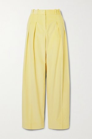 Pastel yellow Pleated cotton-corduroy wide-leg pants | Victoria, Victoria Beckham | NET-A-PORTER