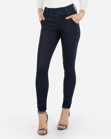 High Waisted Denim Perfect Wide Waistband Skinny Jeans