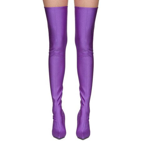 balenciaga purple thigh high sock 'knife' boots