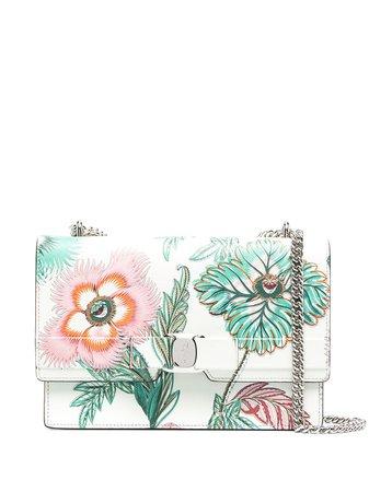 Shop green & pink Salvatore Ferragamo logo-print floral-print shoulder bag with Express Delivery - Farfetch