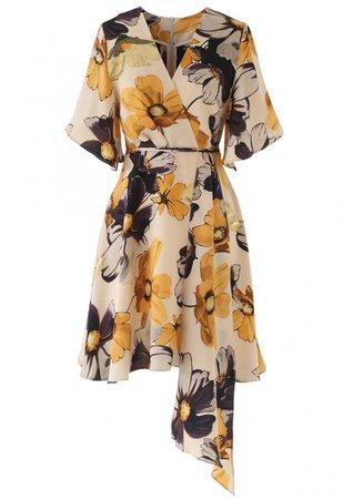 Yellow Floral Print Watercolor Wrap Midi Dress - NEW ARRIVALS - Retro, Indie and Unique Fashion