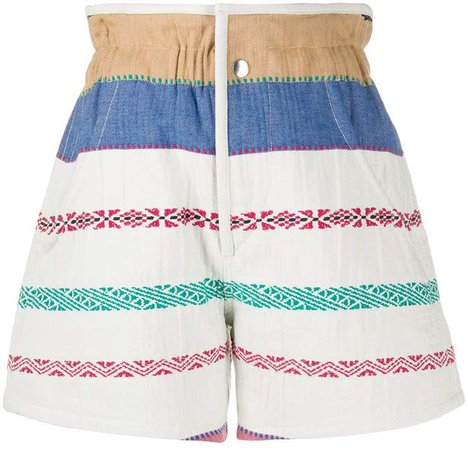 Embroidered Denim Shorts