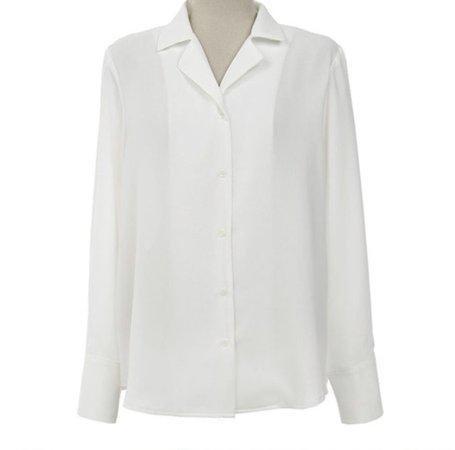 white collared long sleeve shirt