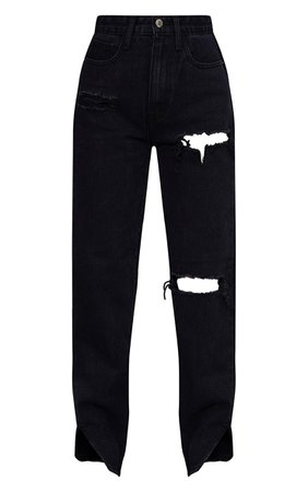 Petite Ice Blue Distressed Split Hem Jeans   PrettyLittleThing USA