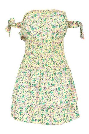 Floral Print Tie Detail Skater Dress | boohoo