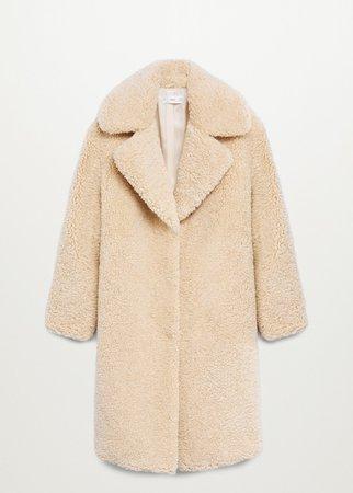 Faux shearling oversized coat - Women | Mango USA