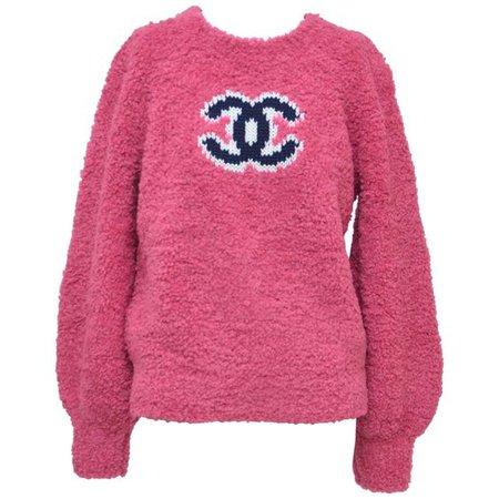 CHANEL CC Pink Teddy Sweater Jumper