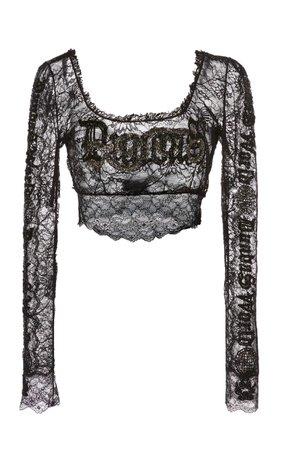 Embroidered Stretch Lace Crop Top by Dundas | Moda Operandi