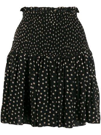 GANNI Ruched Polka Dot Skirt - Farfetch