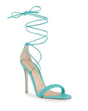 Saint Laurent Opyum Suede 110mm YSL-Heel Sandals | Neiman Marcus