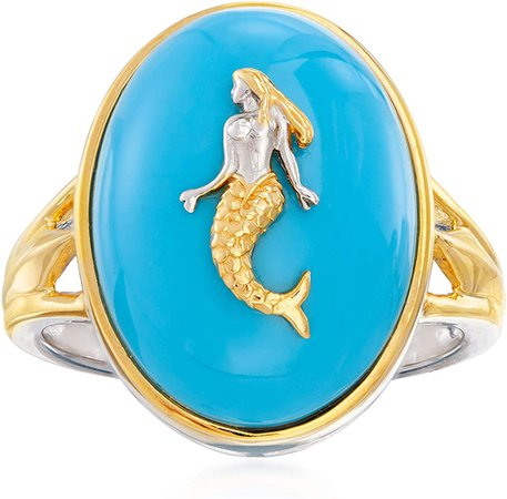 Amazon.com: Ross-Simons Turquoise Mermaid Ring in Sterling Silver and 18kt Gold Over Sterling. Size 9: Clothing