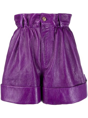 Miu Miu Lambskin Leather High-Waisted Shorts MPP3221SNT Purple | Farfetch