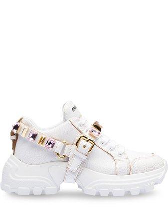 White Miu Miu Leather Sneakers | Farfetch.com