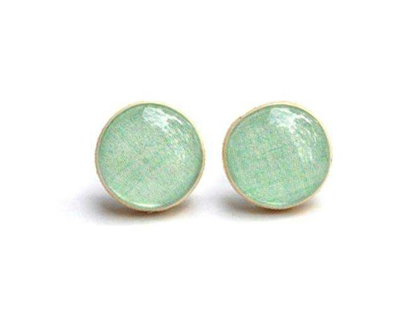 Amazon.com: Mint green stud earrings. Mint greeen studs.: Handmade